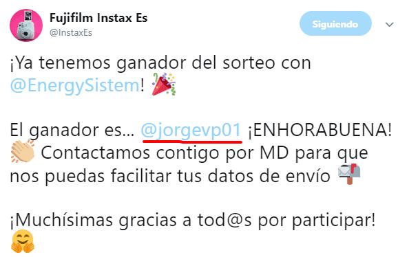 Fujifilm Instax Es en Twitter. Ganador sorteo con EnergySistem.png