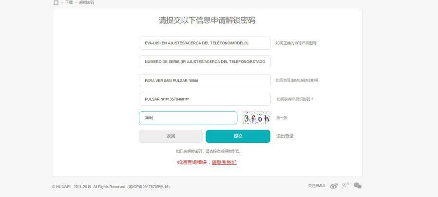 Pedir código desbloqueo Huawei P9.