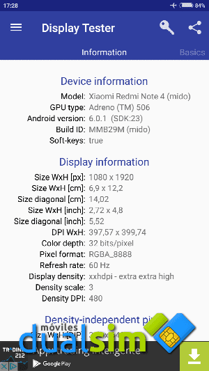 Xiaomi RedMi Note 4 (Global Version): Mi primer Xiaomi. screenshot_2017-05-19-17-28-38-869_com-gombosdev-displaytester-png.288336