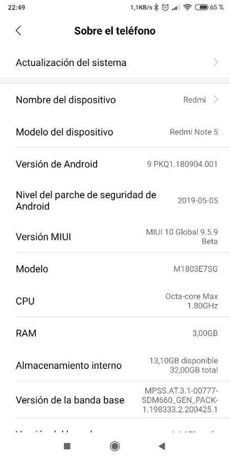 Rom Miui 10 Global para Xiaomi RMN5. Versiones para TWRP y FASTBOOT. Versión actual ESTABLE del 13/05/19. Última Beta PIE del 16/05/19 screenshot_2019-05-10-22-49-09-216_com-android-settings-jpg.360013