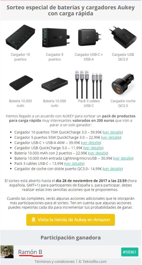 Sorteo especial de baterías y cargadores Aukey con carga rápida.png